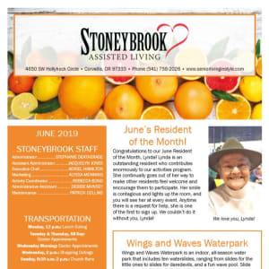 June Stoneybrook Assisted Living Newsletter