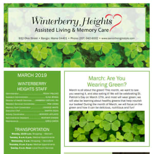 March Winterberry Heights Assisted Living Newsletter