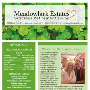 March Meadowlark Estates Gracious Retirement Living Newsletter