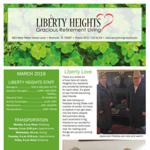 March Liberty Heights Gracious Retirement Living Newsletter