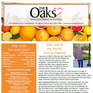 June The Oaks Gracious Retirement Living Newsletter