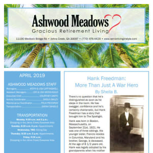 April newsletter at Ashwood Meadows Gracious Retirement Living in Johns Creek, Georgia