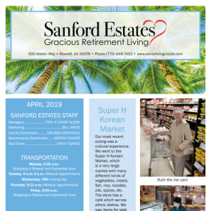 April Sanford Estates Gracious Retirement Living Newsletter