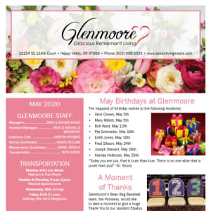 May Glenmoore Gracious Retirement Living Newsletter