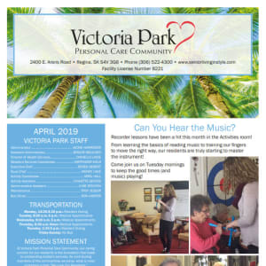 April Victoria Park Personal Care Home Newsletter