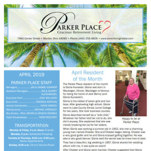 April Parker Place Newsletter