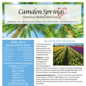 April Camden Springs Gracious Retirement Living Newsletter