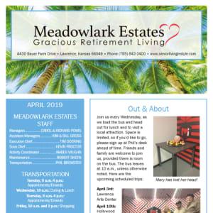 April Meadowlark Estates Gracious Retirement Living Newsletter