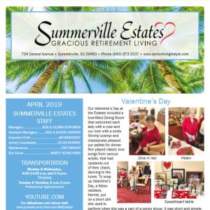 April Summerville Estates Gracious Retirement Living Newsletter