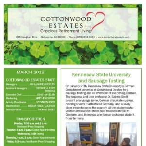 March Cottonwood Estates Gracious Retirement Living Newsletter