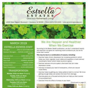 March Estrella Estates Gracious Retirement Living Newsletter