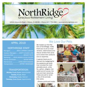 April Northridge Gracious Retirement Living Newsletter