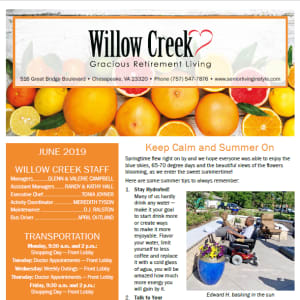 June Willow Creek Gracious Retirement Living Newsletter
