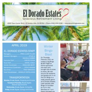 April El Dorado Estates Gracious Retirement Living Newsletter