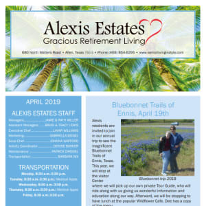 April newsletter at Alexis Estates Gracious Retirement Living in Allen, Texas