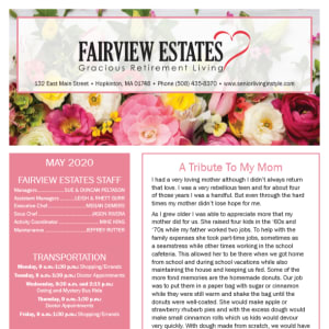 May Fairview Estates Gracious Retirement Living newsletter