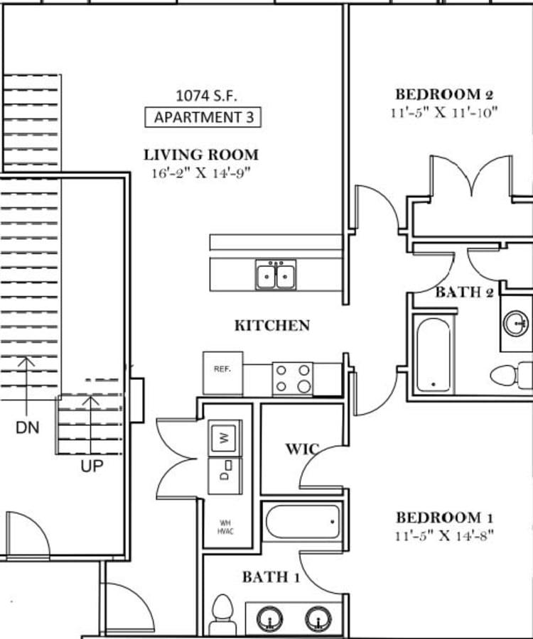 Unit 201 floor plan at lCallio Propertiesin Chattanooga, Tennessee