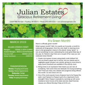 March Julian Estates Gracious Retirement Living Newsletter