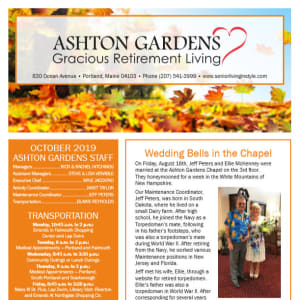 October Ashton Gardens Gracious Retirement Living Newsletter