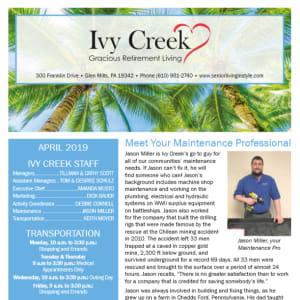 April Ivy Creek Gracious Retirement Living Newsletter
