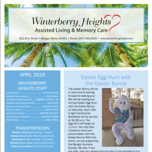 April Winterberry Heights Assisted Living Newsletter