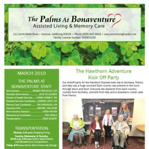 March Palms at Bonaventure Assisted Living Newsletter