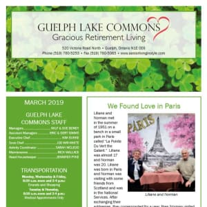 March Guelph Lake Commons Newsletter