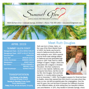 April Summit Glen Newsletter