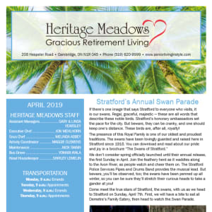 April Heritage Meadows Gracious Retirement Living Newsletter