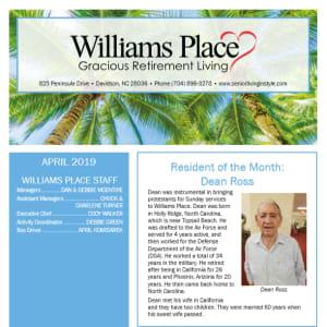 April Williams Place Gracious Retirement Living Newsletter