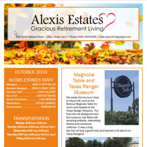 October newsletter at Alexis Estates Gracious Retirement Living in Allen, Texas