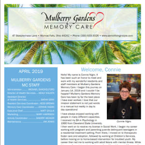 April Mulberry Gardens Memory Care Newsletter