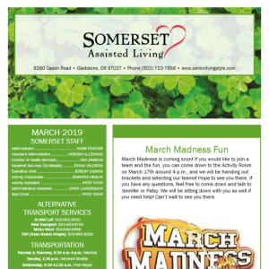 March Somerset Assisted Living Newsletter