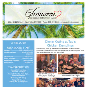 April Glenmoore Gracious Retirement Living Newsletter