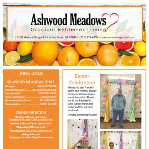 June newsletter at Ashwood Meadows Gracious Retirement Living in Johns Creek, Georgia
