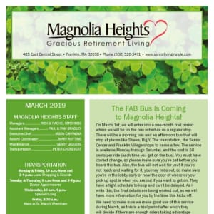 March Magnolia Heights Gracious Retirement Living Newsletter