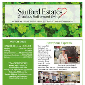 March Sanford Estates Gracious Retirement Living Newsletter