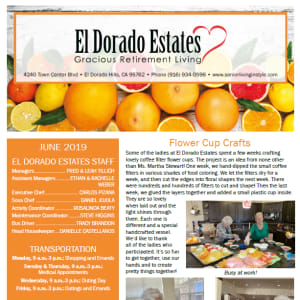 June El Dorado Estates Gracious Retirement Living Newsletter