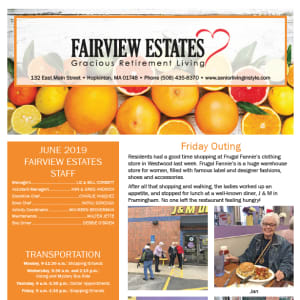 June Fairview Estates Gracious Retirement Living Newsletter