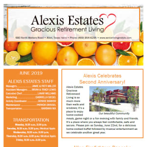 June newsletter at Alexis Estates Gracious Retirement Living in Allen, Texas