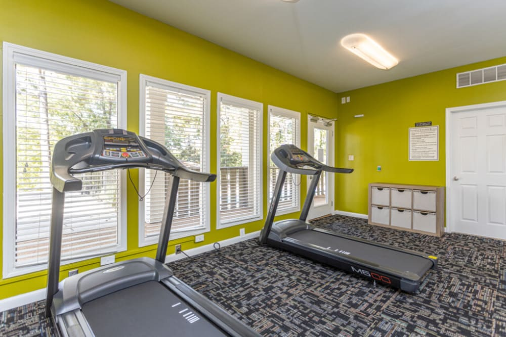 Fitness center treadmills at The Abbey at Riverchase Hoover, AL