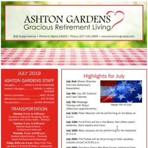 July Ashton Gardens Gracious Retirement Living Newsletter