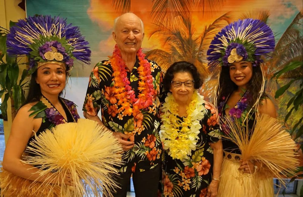 A festive Luau party at Winding Commons Senior Living in Carmichael, California