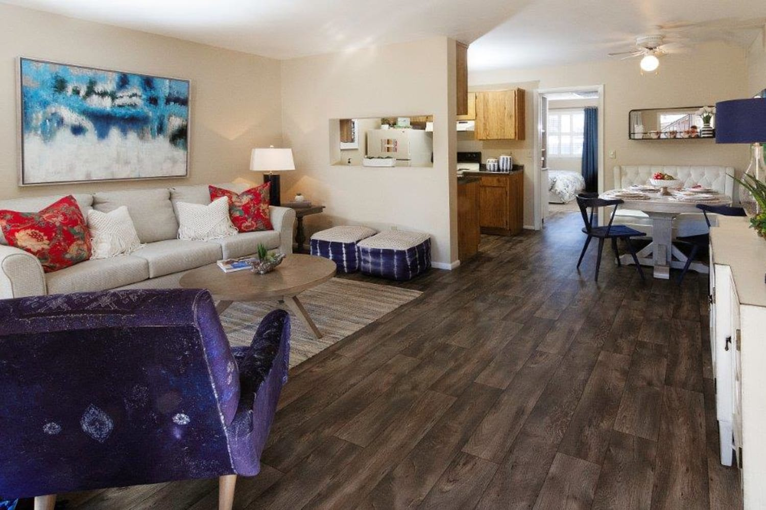 Beautiful living room at Wasatch Club Apartments in Midvale, Utah