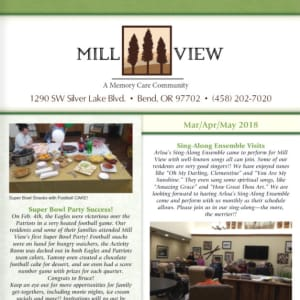 Mar/Apr/May Mill View Memory Care Newsletter