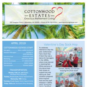 April Cottonwood Estates Gracious Retirement Living Newsletter