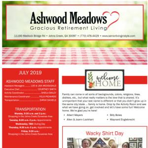 July newsletter at Ashwood Meadows Gracious Retirement Living in Johns Creek, Georgia