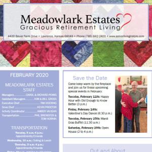 February Meadowlark Estates Gracious Retirement Living newsletter