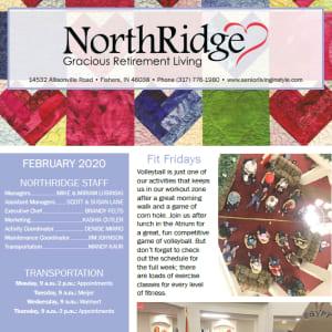 February Northridge Gracious Retirement Living newsletter