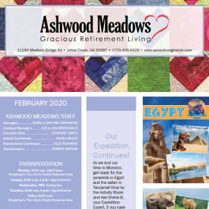 February Ashwood Meadows Gracious Retirement Living newsletter